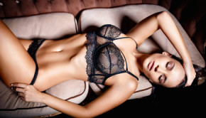 Beautiful girl in a black sexy lingerie